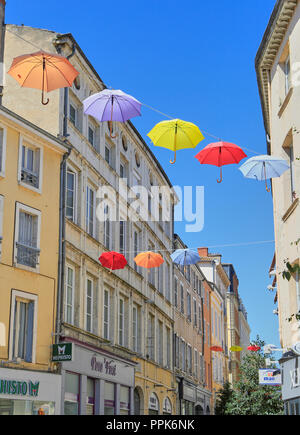 Macon. Colorful umbrellas hanging on the streets. Saône-et-Loire, Bourgogne-Franche-Comté. France. Eurppe - Stock Photo