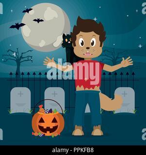 Kid in halloween cartoon - Stock Photo