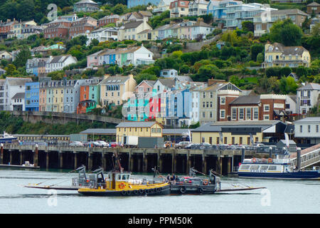 Boats on the river Dart in Dartmouth, South Devon. The town of Kingswear can be seen in the background. - Stock Photo