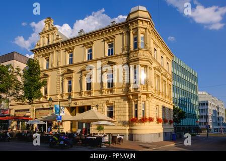Neo-Renaissance residential building by Ludwig Leybold 1882, Bahnhofstraße 21, Bahnhofs- and Bismarckviertel, Augsburg, Swabia - Stock Photo