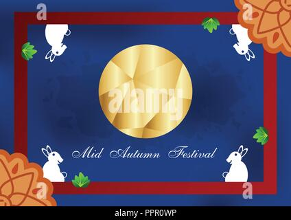 Mid Autumn Festival for Chinese people in flat design. Vector illustration on blue background with moon, rabbit,  mooncakes. - Stock Photo