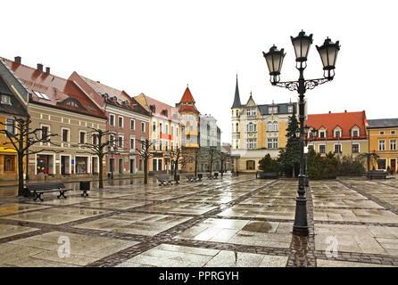 Marketplace in Pszczyna. Poland - Stock Photo