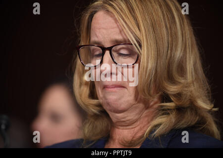 Christine Blasey Ford, the woman accusing Supreme Court nominee Brett Kavanaugh of sexually assaulting her at a party 36 years ago, testifies before the US Senate Judiciary Committee on Capitol Hill in Washington, DC, September 27, 2018.  / POOL / SAUL LOEB | usage worldwide - Stock Photo