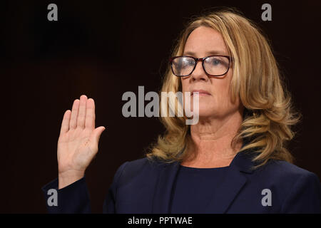 Christine Blasey Ford, the woman accusing Supreme Court nominee Brett Kavanaugh of sexually assaulting her at a party 36 years ago, testifies before the US Senate Judiciary Committee on Capitol Hill in Washington, DC, September 27, 2018.  Credit: Pool via CNP/MediaPunch - Stock Photo
