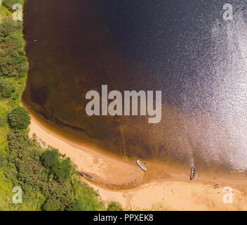 An aerial view of the beach at scenic Lough Nafooey in the Connemara region of  Ireland. - Stock Photo