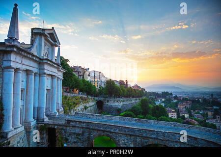 City view from Porta San Giacomo, Upper Town (Citta Alta), Bergamo, Lombardy, Italy, Europe - Stock Photo