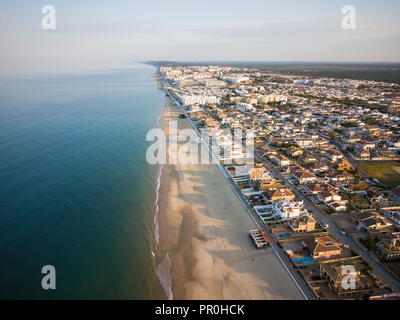 Aerial view of Matalascanas, by drone, Huelva District, Andalucia, Spain, Europe - Stock Photo