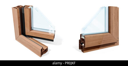 3d detailed window frame profile section, on white background - Stock Photo