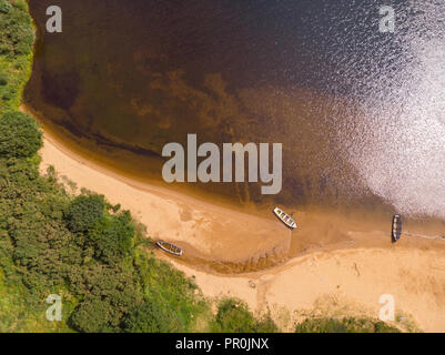 An aerial view of the beach of scenic Lough Nafooey in the Connemara region of Ireland. - Stock Photo