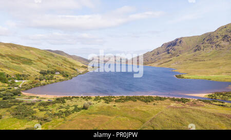 An aerial view of scenic Lough Nafooey in the Connemara area of Ireland. - Stock Photo