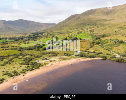 An aerial view of the beach at scenic Lough Nafooey in the Connemara area of Ireland. - Stock Photo