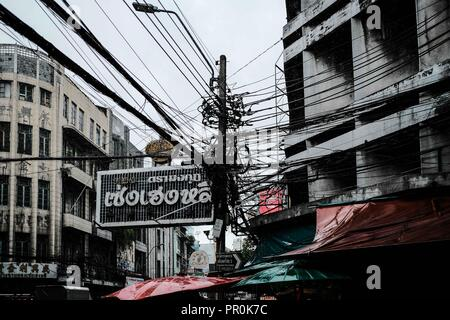 Electric Cables in Bangkok, Thailand - Stock Photo