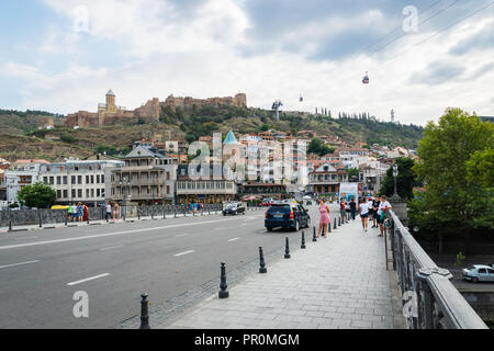 Tbilisi, Georgia - August 2018: Tbilisi city center view, cityscape. Tbilisi is the capital city of Georgia. - Stock Photo