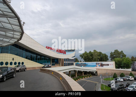 Almaty, Kazakhstan - September, 2018: Almaty airport architecture. The Almaty airport is the largest international airport in Kazakhstan. - Stock Photo
