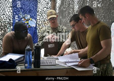 CAMP LEMMONIER, Djibouti (July 27, 2017) Sailors assigned to Coastal Riverine Squadron (CRS) 1, review maintenance procedures in preparation for an upcoming inspection at Camp Lemonnier, Djibouti. Coastal riverine force are a core Navy capability that provides high value asset protection and maritime security operations in coastal and inland waterways. - Stock Photo