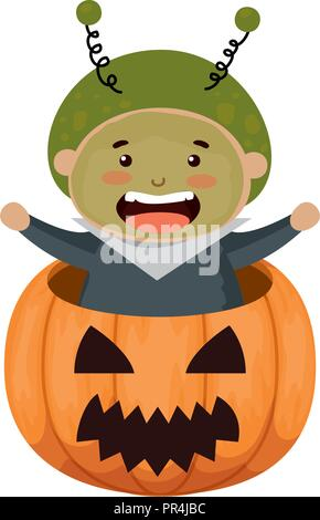 boy dressed up as a halloween martian in pumpkin vector illustration - Stock Photo