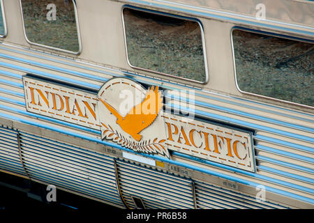 PERTH, AUSTRALIA - September 16, 2018: Indian Pacific passenger rail train that operates between Sydney, on the Pacific Ocean, and Perth, on the India - Stock Photo