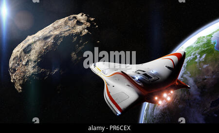 spaceship intercepting meteoroid in orbit of planet Earth, near Earth asteroid space mission (3d science fiction illustration, elements of this image  - Stock Photo