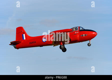 BAC Hunting Jet Provost T3A XN459 ex Royal Air Force Central Flying School. Based at North Weald as G-BWOT Haye House Aviation. Taking off in blue sky - Stock Photo