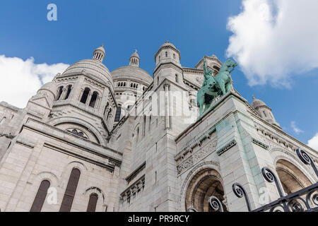 The Basilica of the Sacred Heart of Paris is a Roman Catholic church and minor basilica, dedicated to the Sacred Heart of Jesus, - Stock Photo