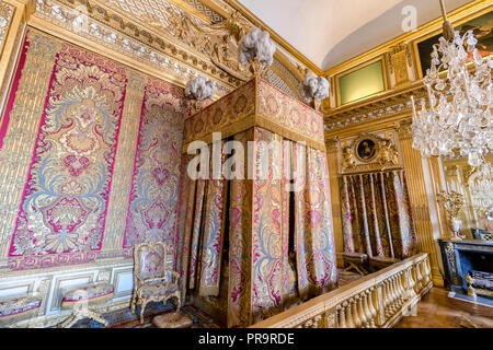 Versailles, France - March 14, 2018: Versailles Royal Apartment - The King's room with the King's Bedroom, created in 1701 where lived Louis XIV until - Stock Photo