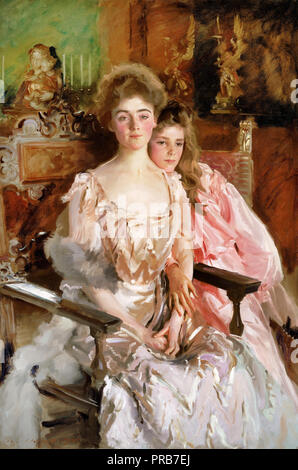 John Singer Sargent, Mrs. Fiske Warren ( Gretchen Osgood ) and Her Daughter Rachel 1903 Oil on canvas, Museum of Fine Arts Boston, USA. - Stock Photo