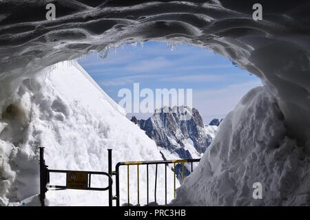 Gateway view from Aiguille du Midi station of the mountains. This is the entrance the alpine climbers take. - Stock Photo