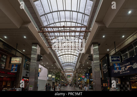 MATSUYAMA,JAPAN - 25 , June ,2017 :In Matsuyama shopping arcade , most shops here open into the night and the shopping street remains lively with stro - Stock Photo
