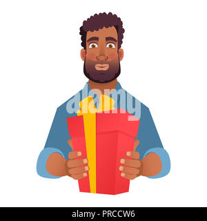 Businessman gives a gift. African man holding red present box. Hands holding gift box with bow - Stock Photo