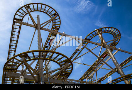 Brighton pier Turbo Coaster ride - Stock Photo