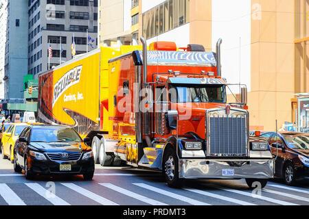 New York City, USA - June 11, 2017: Big truck stopped in crosswalk in New York city - Stock Photo