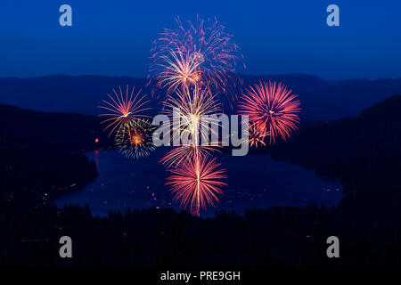 July 4 fireworks show at Donner Lake in Truckee, California, 2018. - Stock Photo