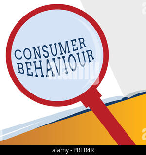 Word writing text Consumer Behaviour. Business concept for Decisions that people make to buy or not to buy a product. - Stock Photo