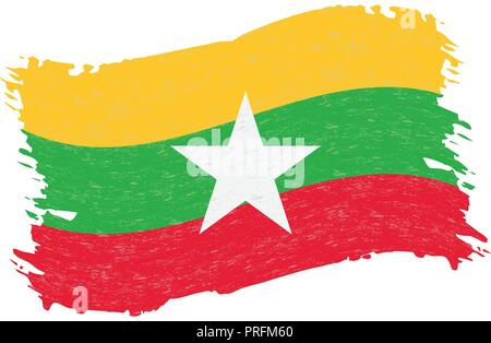 Flag of Myanmar, Grunge Abstract Brush Stroke Isolated On A White Background. Vector Illustration. - Stock Photo