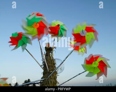 PIN WHEELS WHIRLING IN THE WIND AT CHOWPATTY, MUMBAI, INDIA, ASIA - Stock Photo