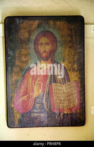 Kea Island Greece Ioulidha Greek Icon of Jesus Christ in small Chapel - Stock Photo
