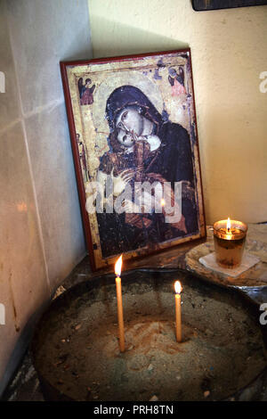 Kea Island Greece Ioulidha Icon of Madonna and Child in Small Chapel - Stock Photo