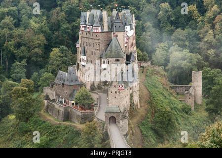 Eltz Castle, Ganerbenburg, Münstermaifeld, Wierschem, Moselle, Rhineland-Palatinate, Germany - Stock Photo