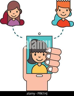 hand holding smartphone woman on screen social media - Stock Photo
