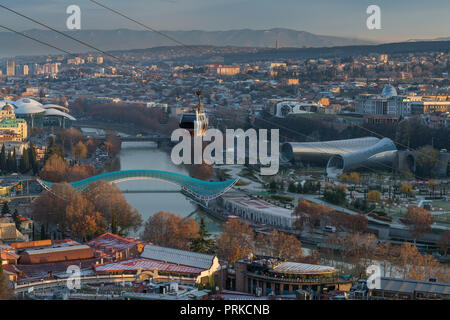 TBILISI, GEORGIA - DEC.11, 2017 : The cityscape of Tbilisi view from the hill - Stock Photo