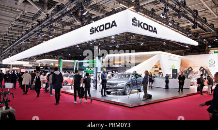 Skoda Auto exposition during the second press day of the International Motor Show in Paris, France, on Wednesday, October 3rd, 2018. (CTK Photo/Rene F - Stock Photo