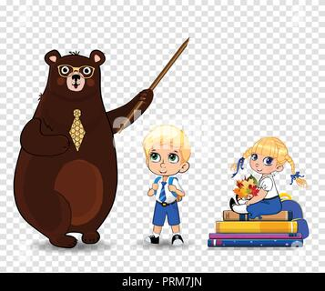 Happy teachers day, back to school vector illustration of cartoon bear teacher holding pointer and school boy and girl with leaves bouquet sitting on  - Stock Photo