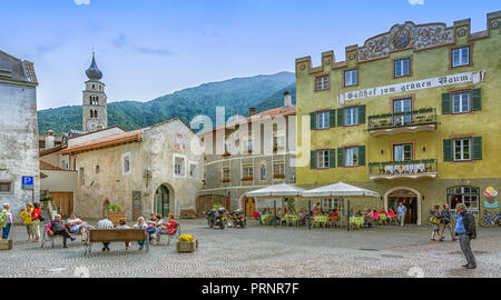 The historic town of Glorenza/Glurns in the south of Malles/Mals is one of the smallest cities in the world. Trentino Alto Adige/South Tyrol - Italy.  - Stock Photo