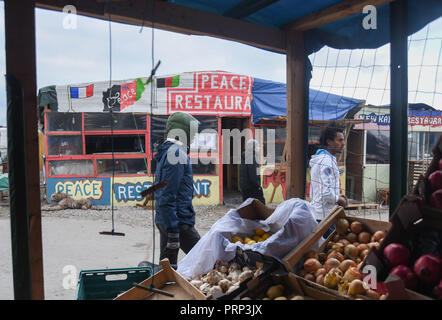 October 12, 2016 - Calais, France: A makeshift shop selling vegetables in the Calais 'jungle' migrant camp. Most migrants living in this camp attempt to illegally enter the United Kingdom. Scene de vie quotidienne dans la jungle de Calais, l'un des plus grands camps de migrants au monde. *** FRANCE OUT / NO SALES TO FRENCH MEDIA *** - Stock Photo