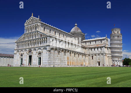 Piazza del Duomo in Pisa, basilica and leaning tower, Italy - Stock Photo