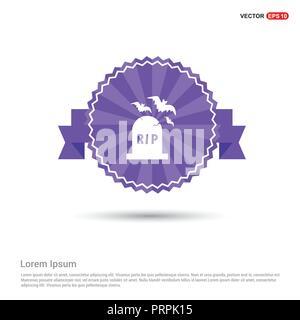 Halloween Grave icon - Purple Ribbon banner - Stock Photo