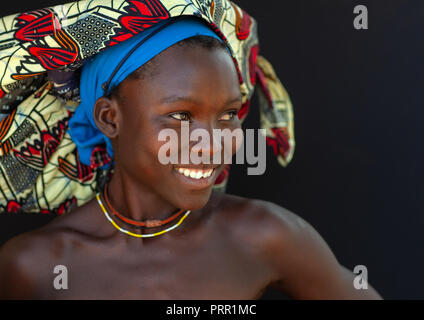 Portrait of a Mucubal tribe women wearing colorful headwears, Namibe Province, Virei, Angola - Stock Photo