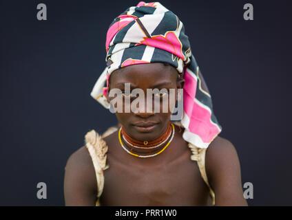 Portrait of a Mucubal tribe woman, Namibe Province, Virei, Angola - Stock Photo
