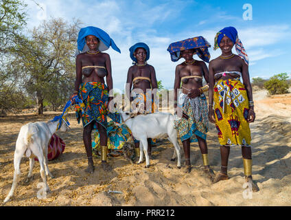 Mucubal tribe women going to market with goats, Namibe Province, Virei, Angola - Stock Photo