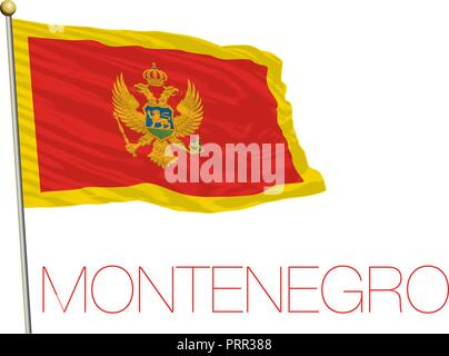 Montenegro, Crna-Gora official flag, vector illustration - Stock Photo